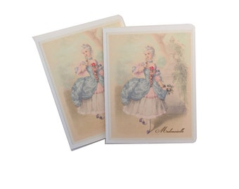 Marie Antoinette Note Cards, Paris Gift Enclosure, Shepherdess Marie Antoinette, Mademoiselle, Style Parisian Gifts for Her, Pink and Blue