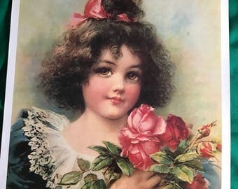 "Mid century lithoghraph reproduction 13"" x 17"" victorian girl"