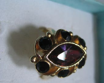 Rare SARAH COVENTRY Color Change Marquis and Jet Chatons Adjustable Ring Mint