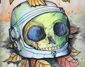 Autumn is good for space- Original Watercolor drawing
