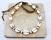 Cowrie Shell Necklace/Choker with Beige/Taupe Shiny/Polished Cowrie Shells on Brown Waxed Cotton-Unisex
