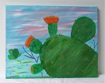 "Desert Cactus, Original Acrylic Painting Wall Art Gallery Wrap  11"" by 14"""