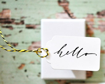 Script Hello Gift Tags {10} | Birthday Wishes | Hello Gift Tags | Hello Vintage Labels | Small Gift under 5 | Party Favours