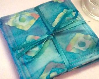 Mug Rugs/Coasters ,Set of 4, TieDyed BLUE Diamonds,  Fabric,  Handmade, Hostess Gift, FREE Shipping in USet
