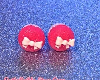 Pink Bow Cupcake Stud Earrings
