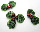 CHRISTMAS HOLLY Lampwork Leaf handmade beads in red and aventurine green for the holidays
