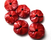 MEMORIAL DAY POPPIES, Remembrance Day, Veterans Day, Flanders Poppy, Handmade Lampwork Bead, Flower buttons