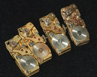 Vintage Antique Small Rectangle Watch Movements  Steampunk Altered Art Assemblage R 27