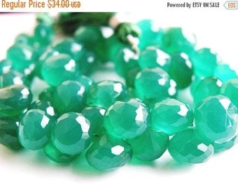 Final 51% off Sale Green Onyx Gemstone Briolette Faceted Onion 7 to 8mm 30 beads 1/2 strand