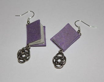 Purple Bound Book Earrings With Celtic Knots