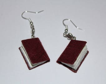 Burgundy Miniature Bound Book Earrings With Tiny Hearts