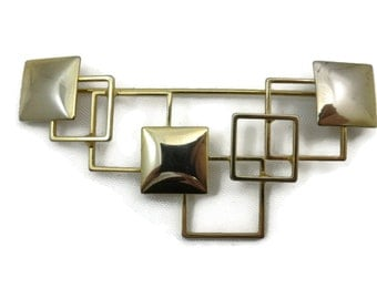 Mid Century Modern Brooch - Gold Squares, Costume Jewelry