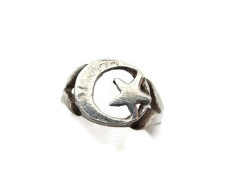 Moon Star Ring - Sterling Silver Crescent Moon and Star, Moon Ring