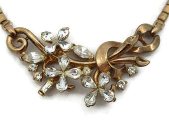 Trifari Rhinestone Necklace - Flowers, Alfred Philippe 1950s, Gold Tone Costume Jewelry