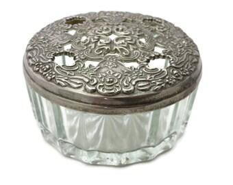 Glass Vanity Jar - Ornate Openwork Lid, Large, Silver Plate