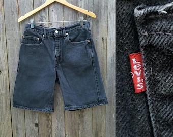 "Vintage Levi's Shorts  //  Vtg 90s Levi 550 High Waist Distressed Faded Black Gray Denim Shorts  //  30.5"" waist"