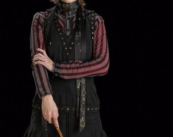 Custom made Nymphadora Tonks from Harry Potter burgundy striped blouse and black tunic jumper dress