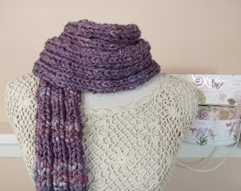 Long Chunky Hand Knit Scarf, Ribbed Knit Skinny Purple Scarf with Handspun Stripes - Item 1585