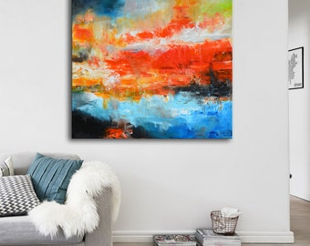 RESERVED _ Original acrylic red painting, Large blue and red painting, abstract painting on canvas, ready to hang, Huge 36x36 painting