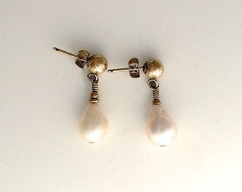 On Sale Small Fine Pearl Earrings in 14 ct Gold Fill