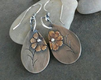 Rustic Handmade-Sterling Silver- Copper- Brass-Cosmos -Earrings-Artisan-Jewelry-OOAK