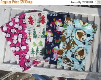 """SALE 10% OFF Set of 8  12"""" Single Ply Flannel Cloth Napkins Holiday Winter Mixed Print"""