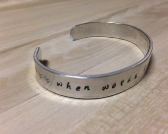 Aluminum Music Bracelet, Musician Gift, Silver Aluminum Cuff, Handstamped Jewelry, Thin Bracelet, Music Quote