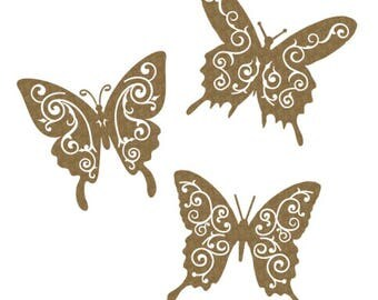 Creative Embellishments - Flourish Butterflies - Laser Die Cuts - Chipboard