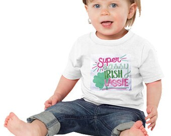 Super Sassy Irish Lassie, T-Shirt customized, St. Patricks Day, Shamrock, Baby bib, embroidered bib,Irish