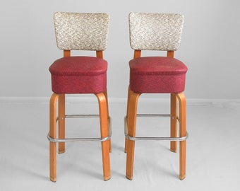 2 mid century modern bentwood thonet style bar stools