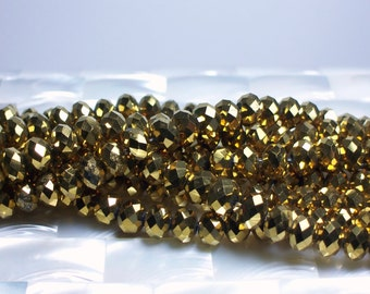 35pcs 8mm Chinese Crystal glass rondelle Bead strand Metallic Gold Jewelry Jewellery Craft Supplies