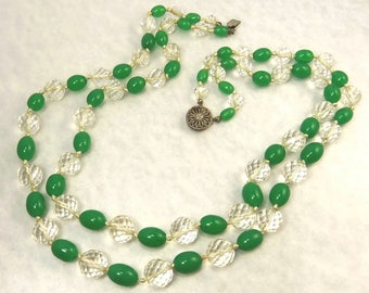 Art Deco Peking Glass & Faceted Crystal Bead Double Strand Necklace