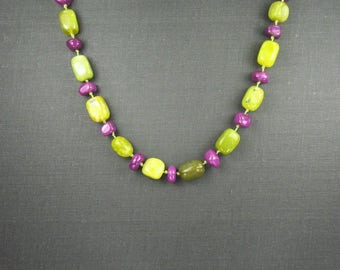 Serpentine and Stone Knotted Necklace
