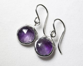 Real Amethyst Earrings Silver Bezel Earrings Genuine Amethyst Jewelry February Birthstone One of a Kind BZ-E-105-Am/s