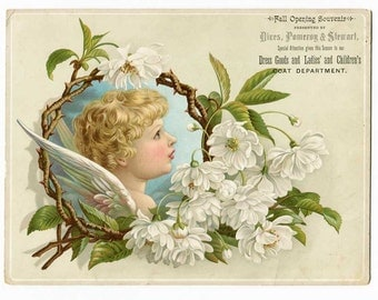 Antique Victorian Large Advertising Card c 1890, Dress Goods, Ladies & Children's Clothing, Pottstown, PA, Store, Cherub, Trade Card