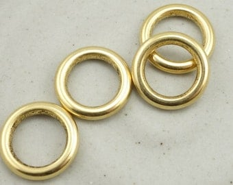 4 12mm Open Frame Hoop Antique Gold Ring Findings Seamless Solid Ring Link Connector Silver Hoop Charm for Jewelry by Nunn Design