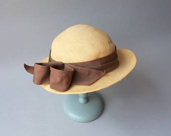 1930s Straw Hat / Vintage 30s Golden Straw Bow Hat / Panama Tilt Hat