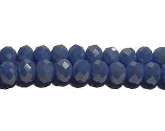 4x6mm Chinese faceted glass crystal beads in Periwinkle Blue AB Lustre 70pcs