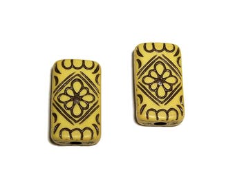 Carved Rectangle Beads Yellow with Black design beads 15x25mm