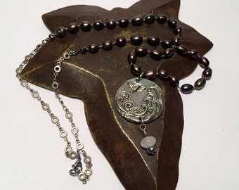 Ocean Waves Pendant Necklace with Hand Knotted Freshwater Pearls and Pewter