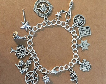 Wiccan Goddess Charm Bracelet - Antique Silver - SC273B