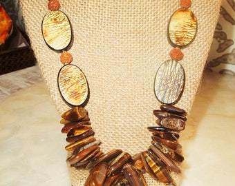 Ethnic, Bohemian, Chunky Tigers Eye Necklace, Oval Water Buffalo Horn & Amber Colored Cow Bone, Bodhi Seed Beads, Statement