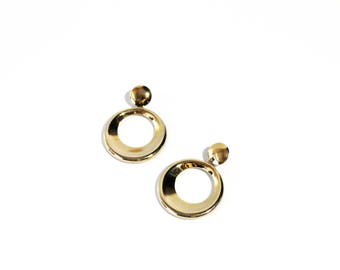 1970s Golden Hoop Stud Earrings