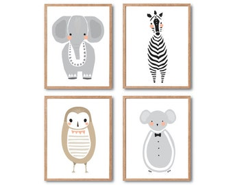Baby Nursery Decor, Safari Animal Print, Baby Elephant, Baby Owl, Baby Mouse, Baby Zebra, Animal art print, PRINT SET, Baby Animal