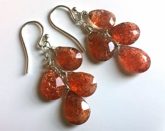 Sunstone Boho Cascade Earrings, read item description please