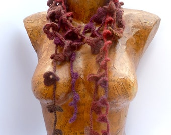 Variegated VIII crochet lariat extra long fiber art scarf, bohemian, Coachella, romantic, boa, statement, fashion accessory