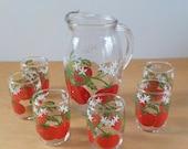 Vintage Tomato Juice Set • Vintage Pitcher and Glasses • MCM Vintage Juice Set