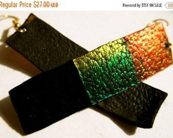 Sale: Painted Leather Rasta Reggae Strip Earrings