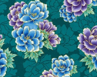 Robert Kaufman Imperial 16753 213 Teal Flowers By The Yard