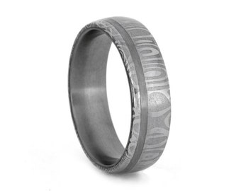 Damascus Ring with Stainless Steel Pinstripe and Sleeve, Mens Damascus Steel Wedding Band